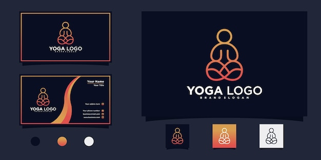 Minimalistisch yoga-meditatie-logo-ontwerp met creatieve lijnkunststijl premium vector