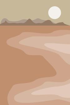 Minimalistisch zeegezicht met bergen bij de zonsondergang abstracte moderne platte vectorillustratie