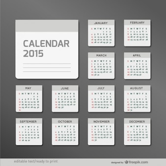 Minimalistische 2015 calendar