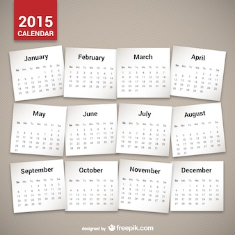 Minimalistische 2015 kalender