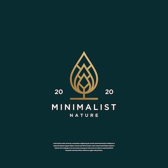 Minimalistische abstracte bladlogo-ontwerpinspiratie
