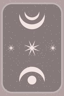 Minimalistische abstracte boho poster print sjabloon grafische vorm pictogram.