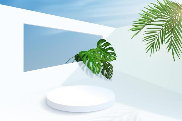 Minimalistische achtergrond met cilindrisch leeg voetstuk met muren en tropische plantenbladeren. platform voor het uitstallen van een product in de zomer op een zonnige dag.
