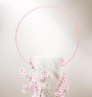 Minimalistische achtergrond met lege stenen sokkel voor productweergave en roze bloemen.