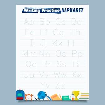 Minimalistische alfabet-werkbladsjabloon