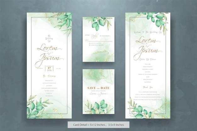 Minimalistische aquarel bloemen bruiloft uitnodigingskaarten sjabloon