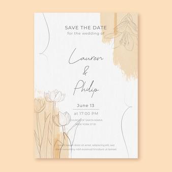 Minimalistische aquarel bruiloft uitnodiging