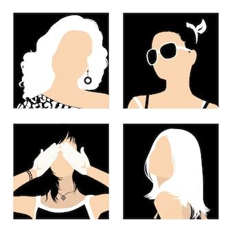 Minimalistische avatars modieuze meisjes op een zwarte achtergrond
