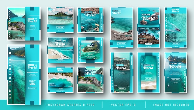 Minimalistische blauwe instagram-verhalen en feedpost-reisbundel
