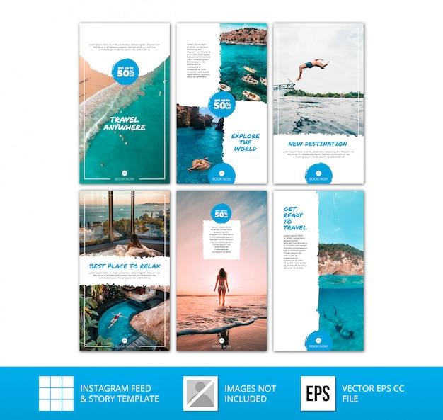 Minimalistische blauwe instagramverhalen reisbundel