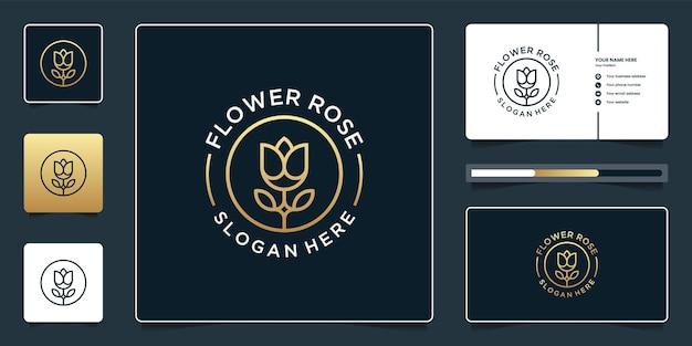 Minimalistische bloem roos logo-ontwerp met sjabloon voor visitekaartjes
