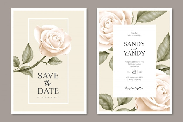 Minimalistische bloemen bruiloft kaartsjabloonontwerp