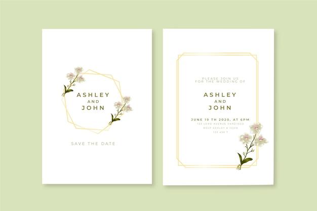 Minimalistische bloemen bruiloft uitnodiging sjabloon