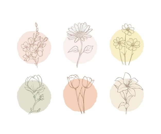 Minimalistische bloemen- en bladafdrukken met lijntekeningen voor een minimalistisch decor