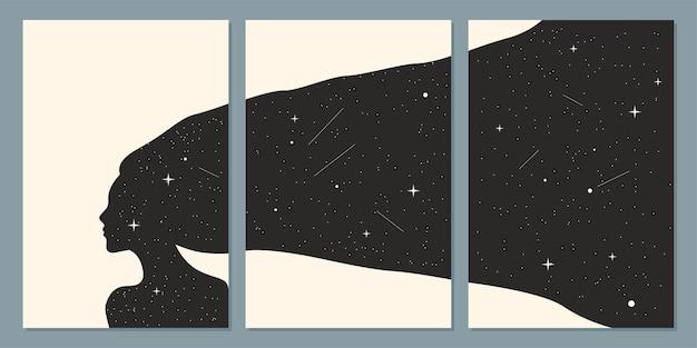 Minimalistische boho stijl muur kunst poster set abstracte boho nacht vrouw silhouet patroon
