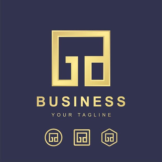 Minimalistische brief ga ga logo sjabloonontwerp. modern logo concept met gouden verloop effect