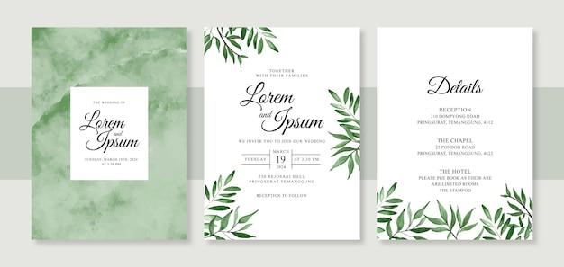 Minimalistische bruiloft kaart uitnodiging sjabloon met handgeschilderde aquarel splash en gebladerte