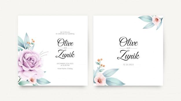 Minimalistische bruiloft kaartsjabloon met bloemen aquarel