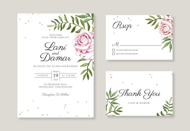 Minimalistische bruiloft uitnodiging kaartsjabloon met hand schilderij aquarel bloemen