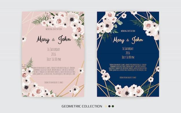 Minimalistische bruiloft uitnodiging kaartsjabloon ontwerp. sjabloon, frame met delicate bloemen, takken, planten.