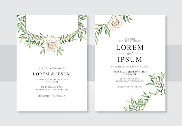 Minimalistische bruiloft uitnodiging sjabloon met hand getrokken aquarel bloemen