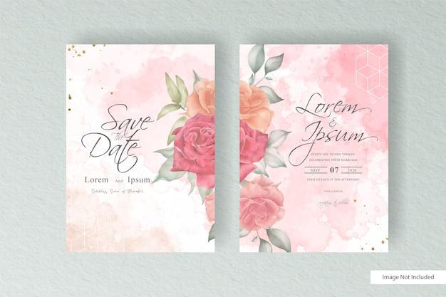 Minimalistische bruiloft uitnodiging sjabloon met hand getrokken bloemen en abstract aquarel splash design