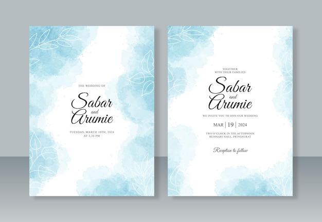 Minimalistische bruiloft uitnodiging sjabloon met hand schilderij aquarel splash