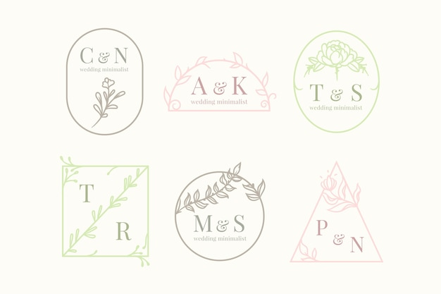 Minimalistische bruiloftmonogrammen in pastel kleuren pack