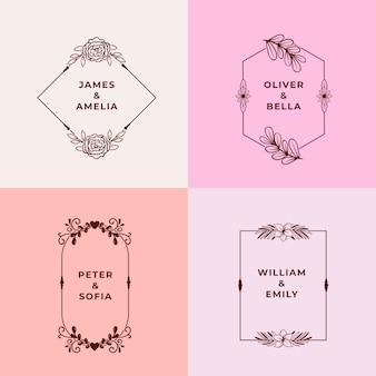Minimalistische bruiloftmonogrammen in pastelkleuren