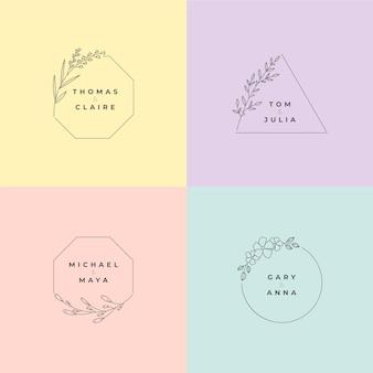 Minimalistische bruiloftmonogrammen in pastelkleurencollectie