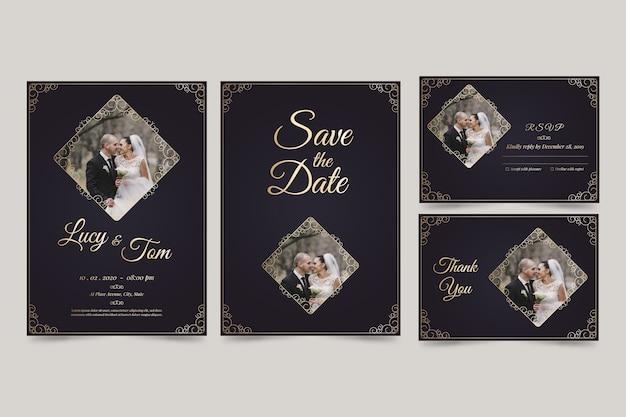 Minimalistische bruiloftuitnodiging bewaart de datum