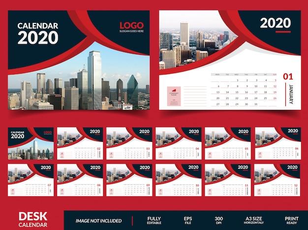 Minimalistische bureaukalender 2020-sjabloon