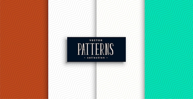 Minimalistische chevron patroon set van vier Gratis Vector