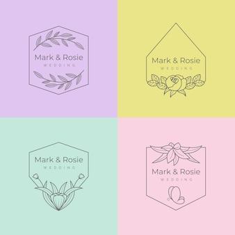 Minimalistische collectie bruiloftmonogrammen in pastelkleuren