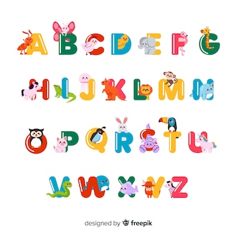 Minimalistische dieren die het alfabet vormen