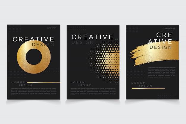 Minimalistische donker gouden metalen modus flyer
