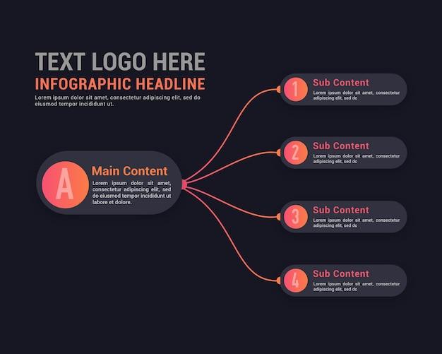 Minimalistische donkere infographic