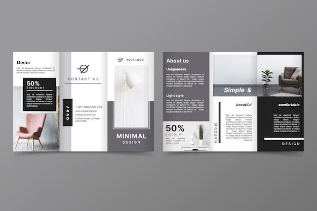 Minimalistische driebladige brochuremalplaatje met foto