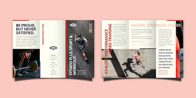 Minimalistische driebladige brochuremalplaatje met voor- en achterkant