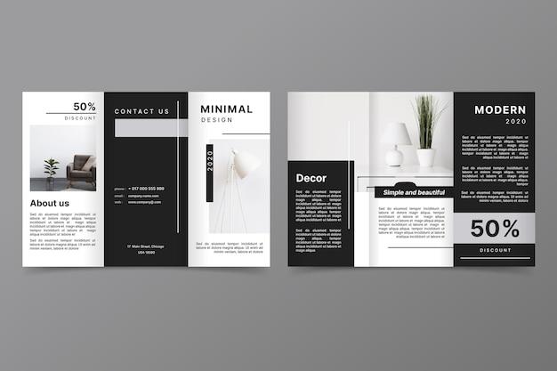 Minimalistische driebladige brochuremalplaatje