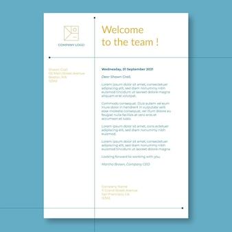 Minimalistische duotoon welkom aan boord van zakelijke sollicitatiebrief