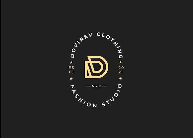 Minimalistische eerste d letter logo ontwerpsjabloon, vintage stijl, vectorillustraties