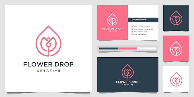 Minimalistische elegante bloem en olie met lijnstijl. logo-ontwerp en visitekaartje ontwerp