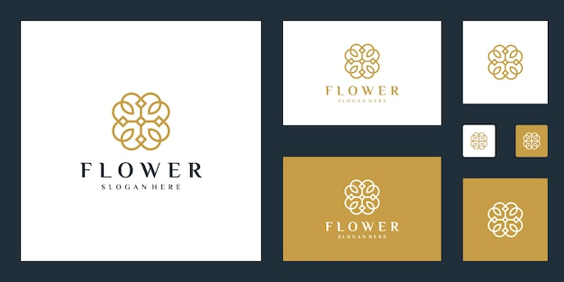 Minimalistische elegante bloem logo sjabloon