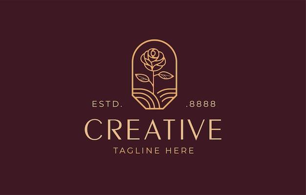 Minimalistische elegante bloem roos logo ontwerpsjabloon