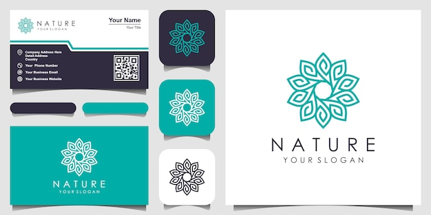 Minimalistische elegante bloemenroos met lijnstijllogo en visitekaartjeontwerp. logo voor schoonheid, cosmetica, yoga en spa. logo en visitekaartje ontwerp