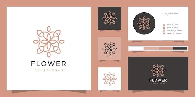 Minimalistische elegante bloemenroos voor schoonheid, cosmetica, yoga en spa. logo en visitekaartje