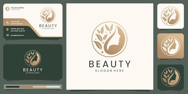 Minimalistische elegante bloemlogo-sjablonen en visitekaartjesontwerp