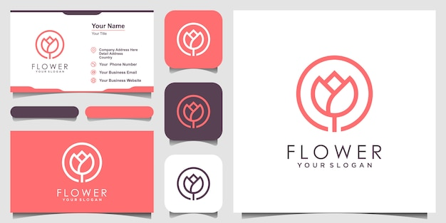 Minimalistische elegante bloemroos schoonheid met lijntekeningenstijl. logo gebruik cosmetica, yoga en spa logo inspiratie. set van logo en visitekaartje ontwerp
