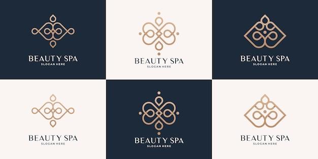Minimalistische elegante lijn vrouwelijke schoonheidssalon spa logo collectie.